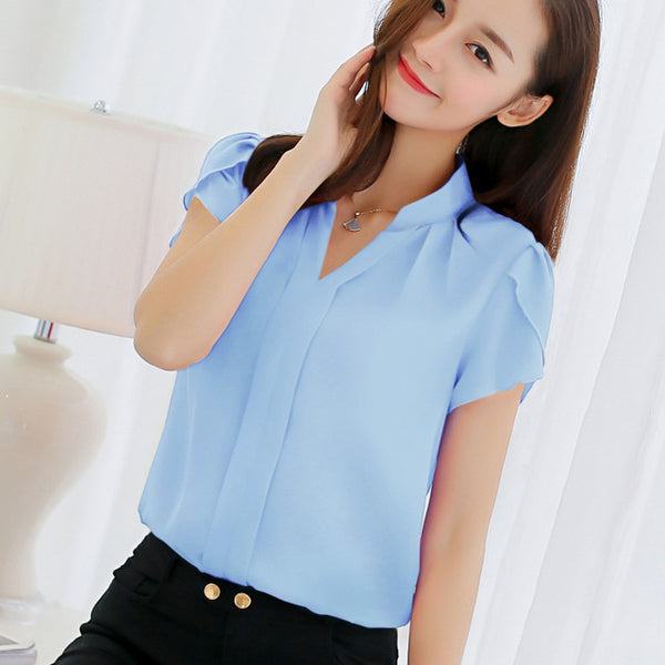 Women Chiffon Blouse Shirt Short Sleeve V Neck White Red Pink Blue Summer Autumn Korean Tops