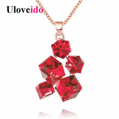 Colar Geometric Necklaces Pendants Rose Gold Color Women Necklace Red Stones Punk Jewelry