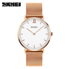 Ultra Thin Watches Men Quartz Stainless Steel Watches Clock Waterproof Casual Wristwatches