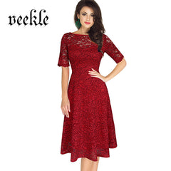 VEEKLE Vintage Delicate Lace Dress Office Half Sleeve A-Line Summer Chic Cool Skate Dress