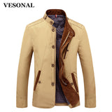 VESONAL Spring Autumn Slim Fit Thin Stand Button Male Casual Jacket Men Short Windbreaker Jackets Coat
