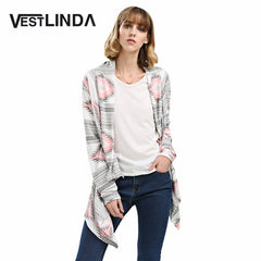 Women Autumn Casual Pink Long Sweater Collarless Long Sleeve Asymmetrical Print Knit Cardigan