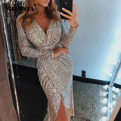 Sexy V-neck High Slit Party Dress Women Glitter Sequined Bodycon Dress