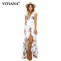 Women Summer Vacation Bohemian Beach Dress White Black Flower Print Boho Maxi Long Casual Dress