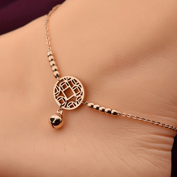 Little Bell Anklet Bracelet Rose Gold Titanium Steel Lover Barefoot Anklet Foot Chain Jewelry