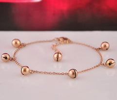 Round Little Bell Anklet Bracelet Rose Gold Titanium Steel Barefoot Chain Foot Women Jewelry Anklets