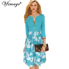 Vfemage Front Zipper Floral Print 3/4 Sleeve Vintage Business Casual Party A-line Dress