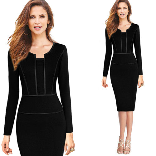 Women Autumn Long Sleeves Vintage Slim Work Wear Office Business Casual Bodycon Pencil Dress