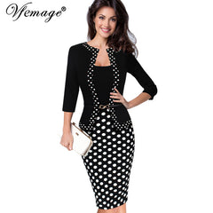 Women Autumn Retro Faux Jacket One-Piece Polka Dot Contrast Patchwork Work Wear Office Dress