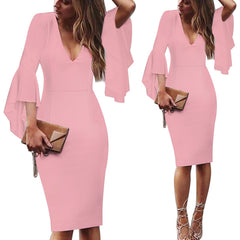 Women Deep V-neck Flare Bell Long Sleeves Work Business Casual Party Slim Bodycon Pencil Dress