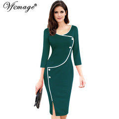 Women Vintage Brief Split Bottom Casual Work 3/4 Sleeve O-Neck Bodycon Women Office Pencil Dress