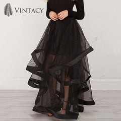 Women MESH Maxi Skirts Spring Summer Ball Gown Party Skirt Long Women Asymmetric Patchwork Skirts