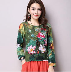 Vintage Ethnic Lotus Cotton Linen Shirts Flax Blouse Long Sleeve Flower Print Shirts Summer
