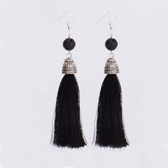 Vintage Fringe Tassel Earrings Long Natural Stone Earrings Bohemian Boho Lava Tiger Eye Tassel Gift