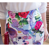 Vintage Women Pencil Skirt High Waist White Pattern Bodycon Midi Skirt Floral Rose Print Slim Skirt