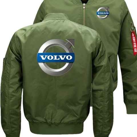 Volvo Men  Bomber Flight Flying Jacket Winter Warm Zipper Men Jackets Anime Men's Casual Coat
