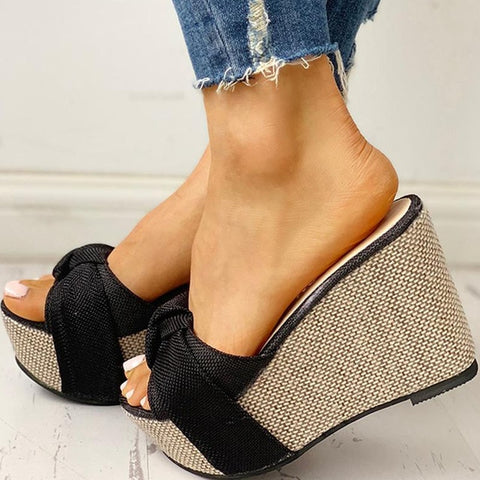 Bow Tied Slip On Leisure Platform Summer Sandals Wedges High Heels Women Shoes Flip Flops