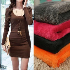 Women Fleeces Long Sleeve Warm Render Dress Casual Solid Deep O-Neck Dresses