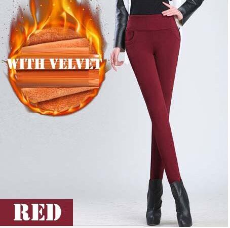 Winter Women High Waist Stretch Thick Legging Solid Skinny Velvet Pencil Pants Trousers