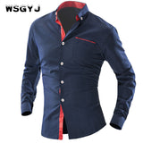 Men'S Shirt British Fashion Wave Point Slim Square Collar Long-Sleeved Single Shirt