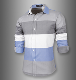 WSGYJ Male Shirt Long-Sleeves Tops Large Striped Men'S Casual Shirts Slim Men Shirt