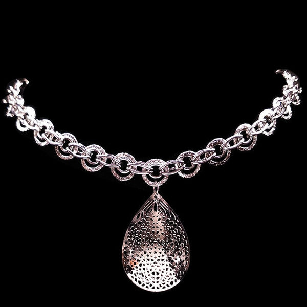 Water Drop Stainless Steel jewlery Silver Color Charms Necklaces Jewelry