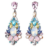 White Pink Opalescence Colorful Earrings Women Earrings Sweet Metal Gems Stud