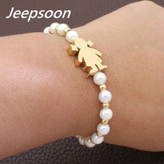 Stainless Steel Jewelry Boy Girl Figure Simulated Pearl Bracelet
