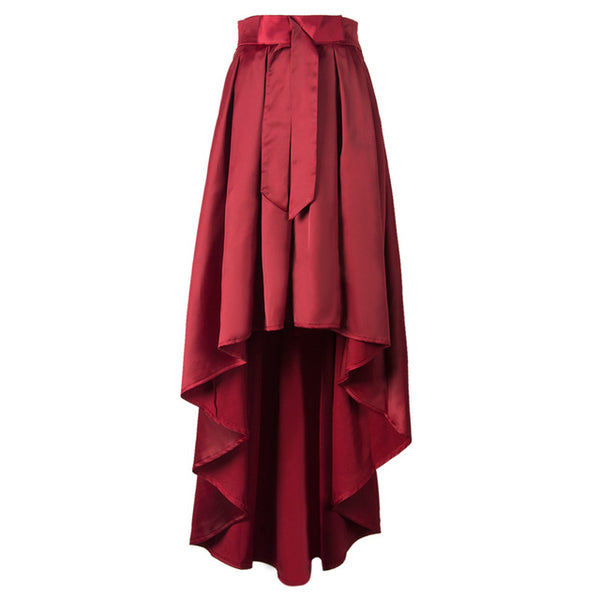 Red Bowknot Front High Waist High Low Midi Skirt Pleated Fall A Line Casual Skater Spring Autumn