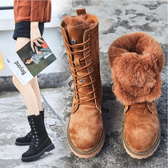 Winter Boots With Fur Women Lace Up Boots high  Leather Mid Calf Boot Leather Non Slip boots