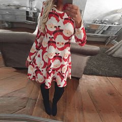 Winter Christmas  Women Clothes Casual Party Dress Long Sleeve Cute Print
