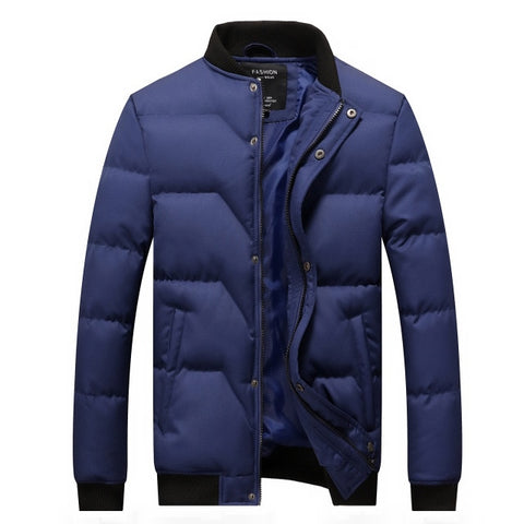 Winter Jacket Men Quilted Jackets Stand Collar Cotton Padded Thick Warm Coast for Man Outwear