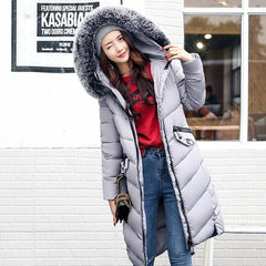 Winter Jacket Women Hair Collar Cotton Long Slim Down Cotton Thickened Warm Hooded