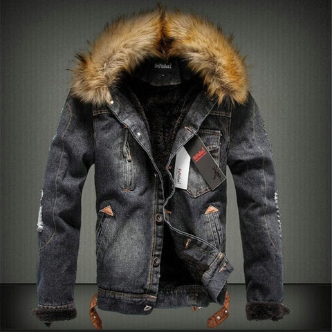 Winter Thick Denim Jacket Men Fur Collar Jeans Coat