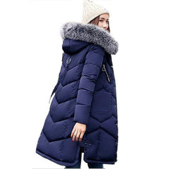 Winter Women Hooded Coat Fur Collar Thicken Warm Long Jacket
