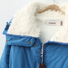 Winter Women jacket Thick Warm short plush fur Collar Women Jacket Coat