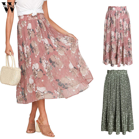 Skirt Boho Chiffon High Waist Floral Flower Print Casual Loose Pleated Skirt Spring Summer