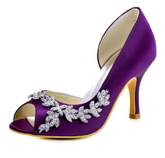 Woman Shoes Wedding High Heels Purple Pink Peep Toe Rhinestones Bridal Prom Evening Pumps