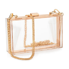 Women Acrylic Clear Clutch Transparent Crossbody Purse Candy See Through Sport Shoulder Bag
