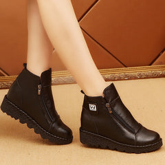 Autumn Ankle Boots Flat Platform Plus Size Zipper Casual Shoes Anti Skid Leather Shoes