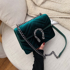 Women Bag Velour Shoulder Solid Color Chain Buckle Crossbody Handbags Bags Designer