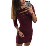 Women Bodycon Package Dress O-neck Hollow Out Club Mini Dresses 3/4 Sleeve Slim Pencil Vestidos