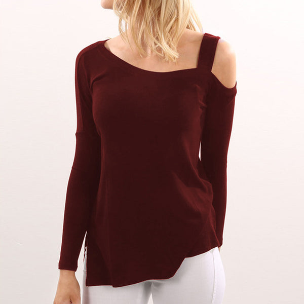 Women Cold Shoulder Blouses Shirts Autumn Tops O-Neck Long Sleeve Loose Sexy Shirts