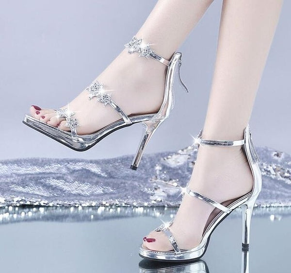 Women Concise Ankle Strap High Heels Shoes Open Top Thin Heels Buckle Slingbacks Pumps