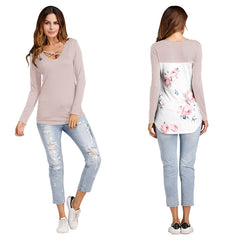 Women Crisscross V Neck T Shirt Spring Autumn Casual Floral Print Long Sleeve Tee Top