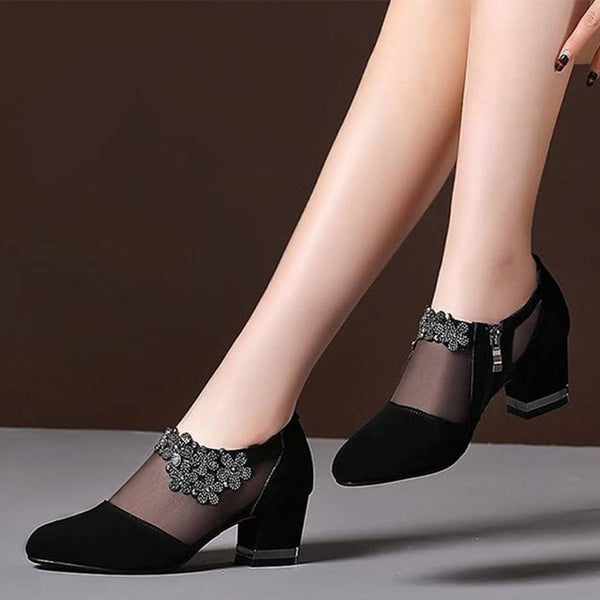Women Crystal Lace Zip Mesh Pumps High Heels Spring Shoes Classics Solid Sandals Party Shoes