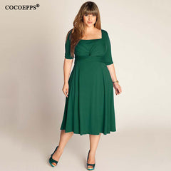 Women Dresses Elegant Office Dress Patchwork Half Sleeve Plus Size Women Clothing Green
