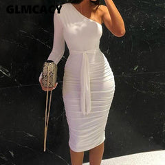 White Cocktail Party Slim Fit Dresses One Shoulder Belted Ruched Design Bodycon Midi Dress
