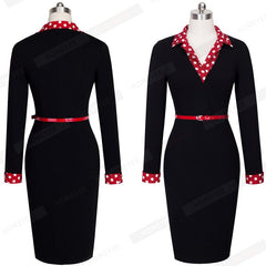 Women Vintage Autumn Polka Dot Turn Down Collar Work Office Casual Long Sleeve Pencil Dress