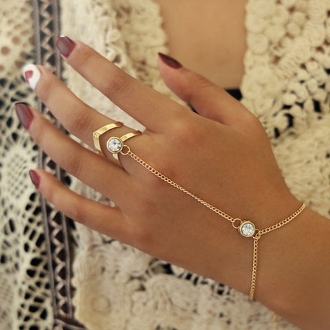 Women Heart Finger Ring Bracelet Personality Match Simple Love Gold Bracelet